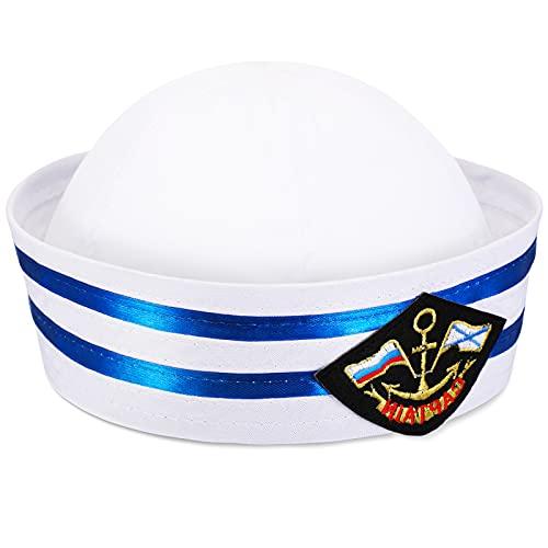 Boyiee Sombrero de Marinero Sombrero de Capitán Gorra de Yate Gorro de Marinero Marina para Hombre Mujer Accesorio de Disfraz (Estilo Vintage)