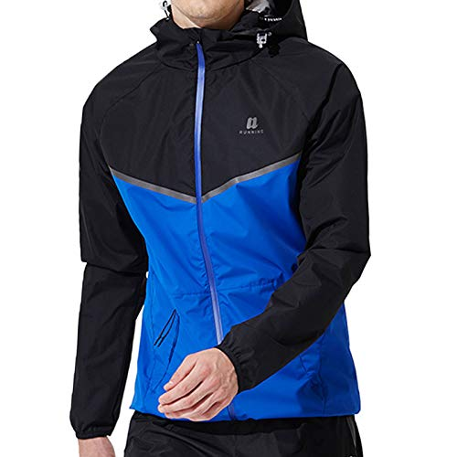 WYCLF Sauna Suit for Men Set Sweat Suit Sport Clothes Sauna Jacket Workout Sweats Gym Exercise Fitness Running Clothes Blue L