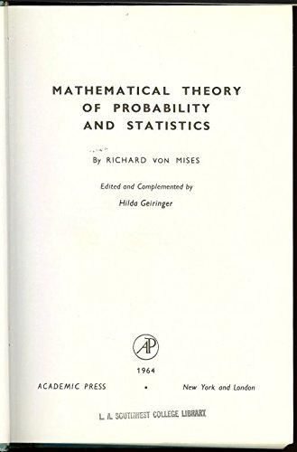 Mathematical Theory of Probability and Statistics