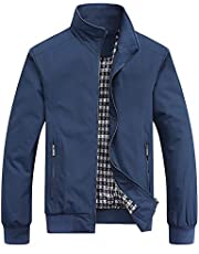 MyMei Men's Casual Jacket Stand Collar Zipper Design Regular Coat Spring Autumn Windbreaker Outerwear