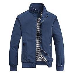 MyMei Mens Casual Jacket Stand Collar Zipper Design Regular Coat Spring Autumn Windbreaker Outerwear