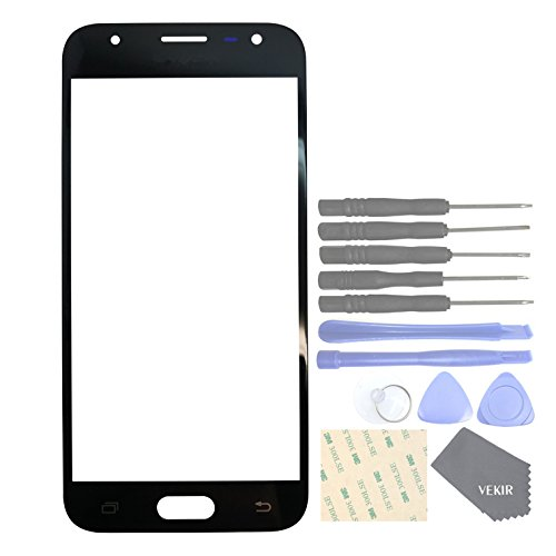 VEKIR Repuestos de teléfonos celulares para Samsung Galaxy J3 (2017) J3 Pro (2017) J330F J330G Panel de Pantalla de Vidrio Exterior[NO LCD,NO Touch](Black)