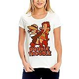 Camiseta Chip y Chap Disney para Mujer, Doble Problema, Blanco algodón - S