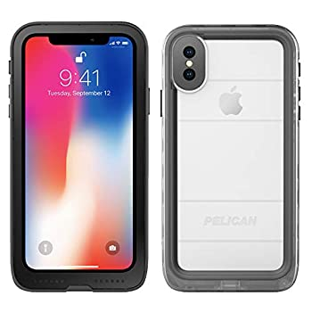 iPhone X Case | Pelican Marine Waterproof Case for iPhone X  Clear/Black  Model Number  C37040-001A-BKCL