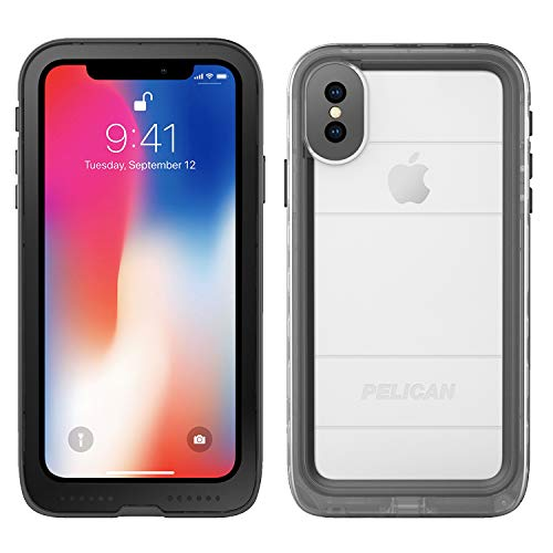 iPhone X Case | Pelican Marine Waterproof Case for iPhone X (Clear/Black), Model Number: C37040-001A-BKCL