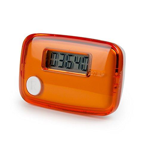Incutex Schrittzähler, Stepcounter, Pedometer, LCD Display, Kalorienmesser, Schritt- und Entfernungsmesser, Orange–Weiß