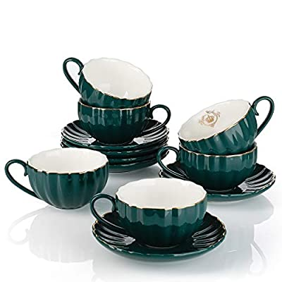 Amazingware Royal Tea Cups and Saucers, with Gold Trim and Gift Box, British Coffee Cups, Porcelain Tea Set, Set of 6 (8 oz)- Dark Green