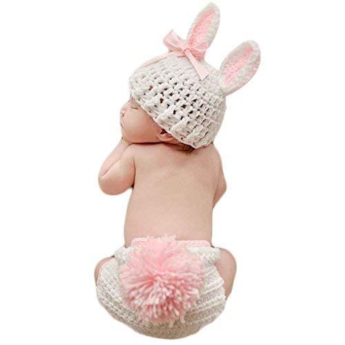 Chowcencen Ropa de bebé Lindo de la fotografía del Ganchillo del bebé recién Nacido apoyos de la Foto del bebé del Traje de los apoyos Conejo Flor de la niña Trajes Set