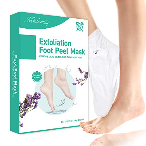 Foot Peel Mask 2 Pack, Mixbeauty Exfoliating Foot Mask, Peeling Away Calluses and Dead Skin, Repair Rough and Cracked Heels, Get Baby Soft Feet (Lavender Scented)