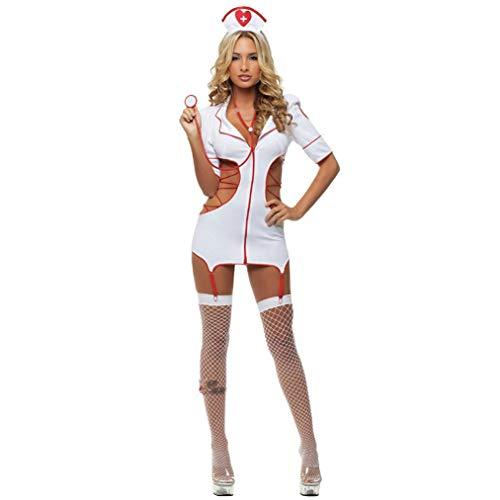Wxxly Sexy Cosplay Indossare Abiti da Sera Uniforme del Costume Erotico della Biancheria Intima dell'infermiera di Cosplay delle Donne per Party Feste Musicali Halloween Carnevale Mascherata,Bianca,L