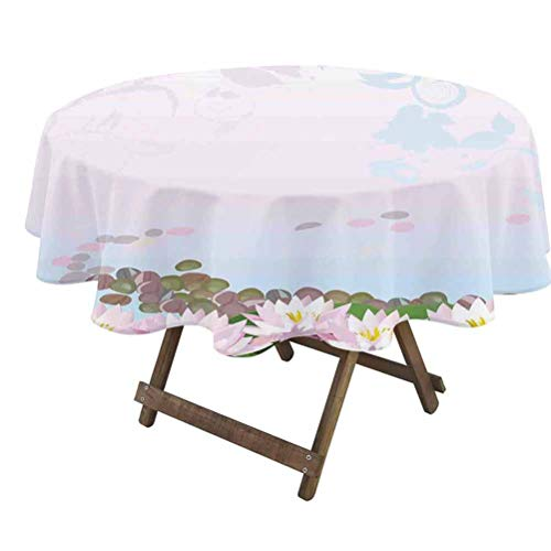 prunushome Zen Garden Fitted Table Cover Water Lilies Pattern with Spiritual Design with Ornate Swirled Stalks for Dining Room Party Outdoor Picnic Multicolor   60' Round