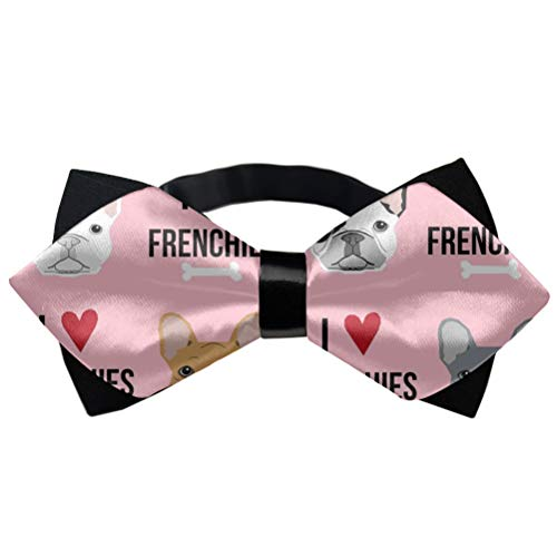Birthday Bow Tie Gift, Casual and Formal Tuxedo Bow Tie - I Love French Bulldogs Pink Creative Neckties
