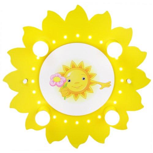 Elobra kinderlamp zon met bloem plafondlamp kinderkamer hout met nachtlampje, geel 126721