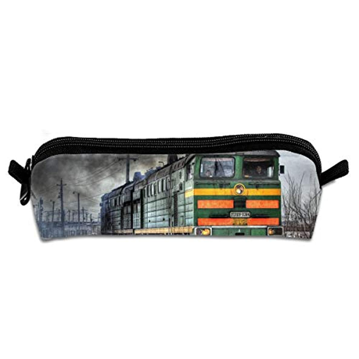 Pencil Bag Funny Train Cool Art Portable Pencil Holders Pouch Stationery Organizer Case with Zipper