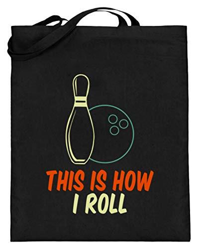 SPIRITSHIRTSHOP This Is How I Roll - Bowlingkugel Und Bowlingkegel - Jutebeutel (mit langen Henkeln) -38cm-42cm-Schwarz