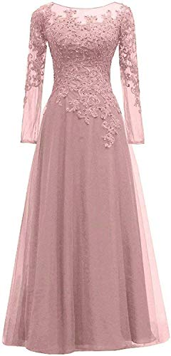 HUINI Abendkleider Spitze Ballkleider Lang A-Linie Brautjungfernkleider Brautkleid Vintage Festkleid Langarm Altrosa 48