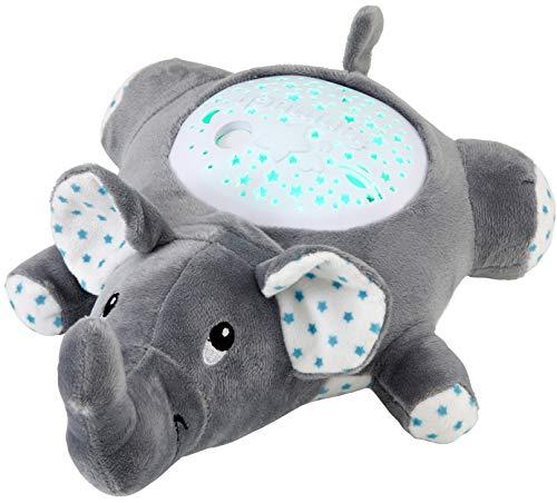 Northpoint LED Plüschtier Sternenprojektor Nachtlicht mit 13 Schlummermelodien/waschbar/Lautstärke einstellbar (Elefant)