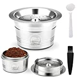 ALLOMN Reusable Coffee Capsule, Stainless Steel Capsule for K-Fee Caffitaly Cafissmo with Plastic Spoon Cleaning Brush