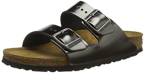 Birkenstock Classic Damen Arizona Leder Softfootbed Pantoletten, Grau (Metallic Anthracite), 36 EU