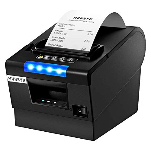 MUNBYN Receipt Printer P068, 3 1/8' 80mm Direct Thermal Printer, POS Printer with Auto Cutter - Receipt Printer with USB Serial Ethernet Windows Driver ESC/POS Support Cash Drawer
