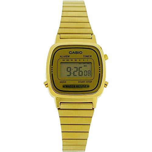 Casio LA670WGA-9DF Damen-Armbanduhr, goldfarbenes Metallarmband
