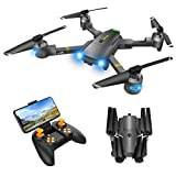 Drone with Camera for Adults - Wide-angle RC Quadcopter for Beginners, FPV Live Video, Altitude Hold, Headless Mode, 3 Speeds Adjustable , Voice Control, Trajectory Flight, 1 Key Take On and Off