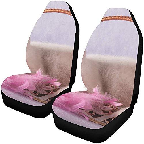 Drew Tours Uniwersalne pokrowce na siedzenia samochodowe przednie fotele biały kot leżący kosz wiklinowy różowy ochraniacz na siedzenie samochodu pokrowce na maty samochodowe pełne dopasowanie do większości pojazdów