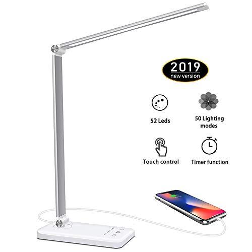 Lámpara Escritorio LED,5*10 Modos de Brillo con 52 SMD Leds Lámparas Mesa USB Recargable,2000mAh Plegable Flexo de Escritorio Control Táctil,Protege a ojos