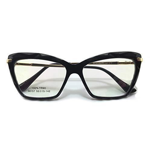 Armação para Óculos de Grau Feminina Cristal Lapidada Facetada Gatinho TR90 Hastes em Aço Lentes Transparentes Tendência Moda Preta