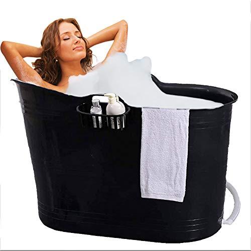 FlinQ Bath Bucket Schwartz | Mobile Badewanne für Erwachsene | Ideal für kleine Badezimmer | Badewanne Erwachsene XL und Kinder | Badewanne Outdoor | Tragbare Kunststoff Badewanne für Dusche