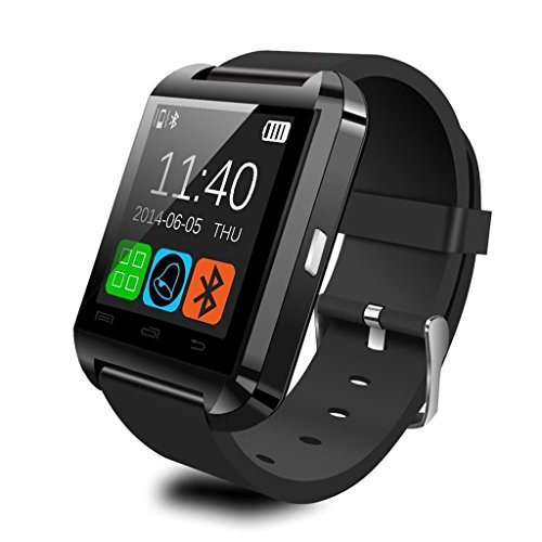 Cewaal Tracker di Fitness U8 Smart Watch per Bambini Donna Uomo iPhone Android Samsung HTC LG (Nero)