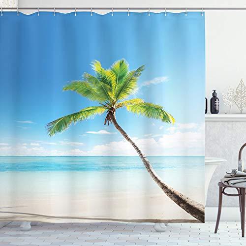 ABAKUHAUS Wendekreis Duschvorhang, Palmen auf Karibik, mit 12 Ringe Set Wasserdicht Stielvoll Modern Farbfest und Schimmel Resistent, 175x200 cm, Beige Grün Blau