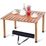 COSTWAY Falttisch Holz 70x69x42cm, Campingtisch Gartentisch Klapptisch, Picknick-Tisch für Outdoor, Wandern, Angeln und Grillen (Hellbraun)
