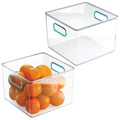 mDesign Cajas organizadoras con asas – Práctico organizador de frigorífico para almacenar alimentos – Contenedor de plástico sin BPA para mueble de cocina o nevera – Juego de 2 – transparente y azul