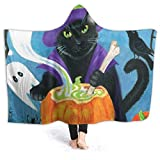 ZHENGYUAN - Manta portátil para bebé, diseño de gato, bruja con capucha, chal y manga 80 × 60 cm