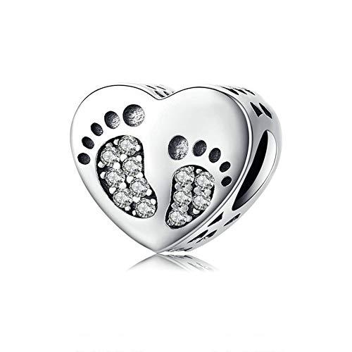 GaLon Encanta Granos, S925 Plata Pies románticos Mano Bricolaje Accesorios de la joyería Femenina Colgante Perlas compatibles con Pandora y Pulseras Europeas Collares
