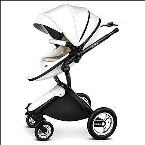 Buy Cheap ZZLYY Baby Stroller Pram Carriage Stroller – All Terrain Pushchair Stroller Compact Convertible Luxury Strollers add Foot Cover,White