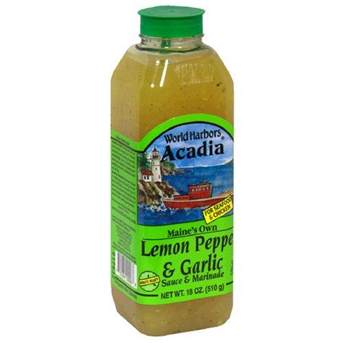 World Harbors Lemon Pepper Garlic Marinade, 18-Ounce Bottles (Pack of 6)