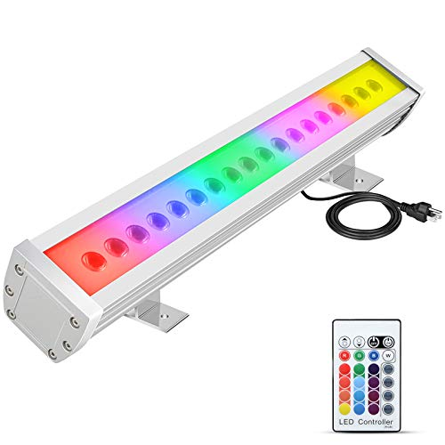 ATCD 54W RGBW LED Wall Washer Light, Color Changing, Linear Strip Light with RF Remote Controller, 120V, IP65 Waterproof, 20 inches Length, LED RGB Light Birthday Party, Carnival