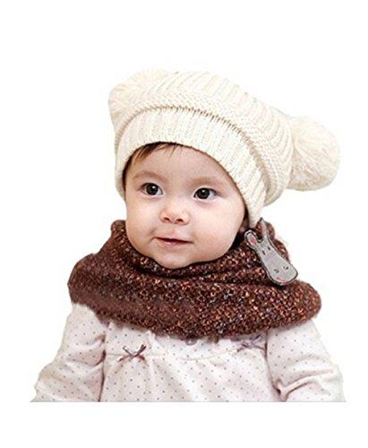 ZUMUii Butterme Mignon bébé Fille Enfant garçon Hiver balles Duo Chaud Chapeau tricoté Bonnet Chapeau Cadeau de Noël