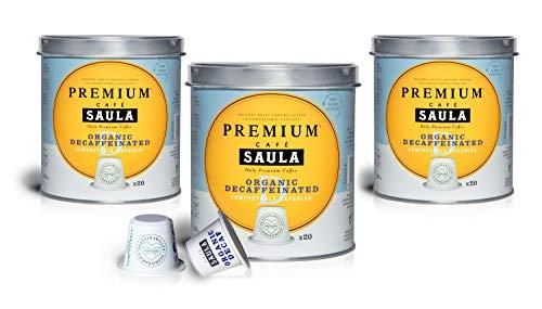 Café Saula, Pack 3 botes con 60 cápsulas compostables. Café 100% Arábica descafeinado....