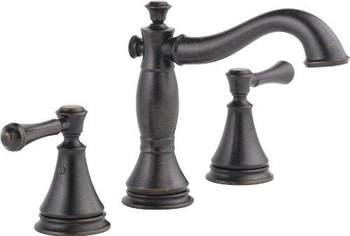 DELTA Faucet Cassidy Widespread Bathroom Faucet 3 Hole, Bronze Bathroom Faucet, Bathroom Sink Faucet, Metal Drain Assembly, Venetian Bronze 3597LF-RBMPU