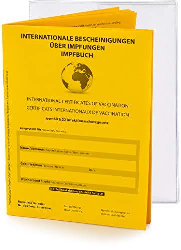 Premium Set - Internationaler Impfpass Impfausweis, 2021, 32 Seiten nach offiziellen Vorgaben auf stabilem Papier + Schutzhülle, Impfbuch Bescheinigung über Impfungen mit eingebundenem Notfallausweis