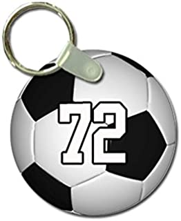 TYD Designs Key Chain Sports Soccer Customizable 2 Inch Metal and Fully Assembled Ring with Any Team Jersey Player Number