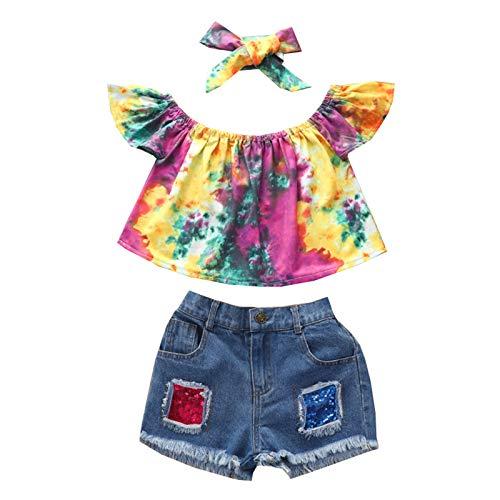 Conjunto de ropa de 3 piezas para niños pequeños y niñas con teñido anudado de manga corta+pantalones cortos de mezclilla rasgados+diadema trajes de verano, amarillo, 5 años