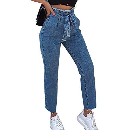 NPRADLA Damen-Röhrenjeans mit hohem Bund und schmaler Jeans-Hose Neunprozentige Gürtelhose(L,Schwarz)