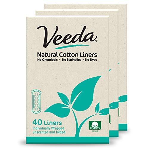 Naturalena Brands UK Limited, Veeda - Forro de algodón natural ultra fino y transpirable, sin color, 120 unidades