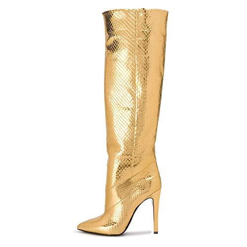 YOWAX Botas de tacón Alto para Mujer Zapatos Sexy Tacón de Aguja Botas de tacón Alto de Noche de celosía de Diamante Dorado delgado-43