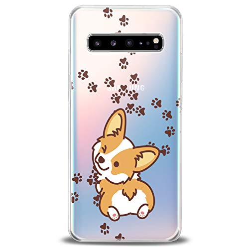 Cavka TPU Cover for Samsung Galaxy Case S20 Note 10 Plus 5G S10e S9 S8 S7 Lightweight Design Corgi Kawaii Cute Funny Animals Teen Print Dog Puppy Wink Flexible Silicone Slim fit Clear Soft Cute Paws