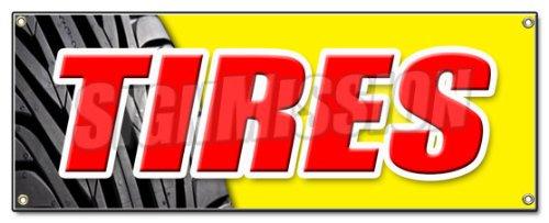 Tires Banner Sign Sale Name Brand Rotation Wheels Oil Change Balance Repair Flat